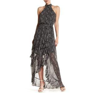 BEBE Star Print Maxi Ruffle w/ Halter Neck Dress